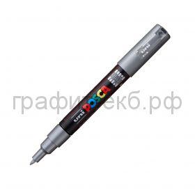 Маркер декоративный UNI POSKA 0,7мм серебряный PC-1M