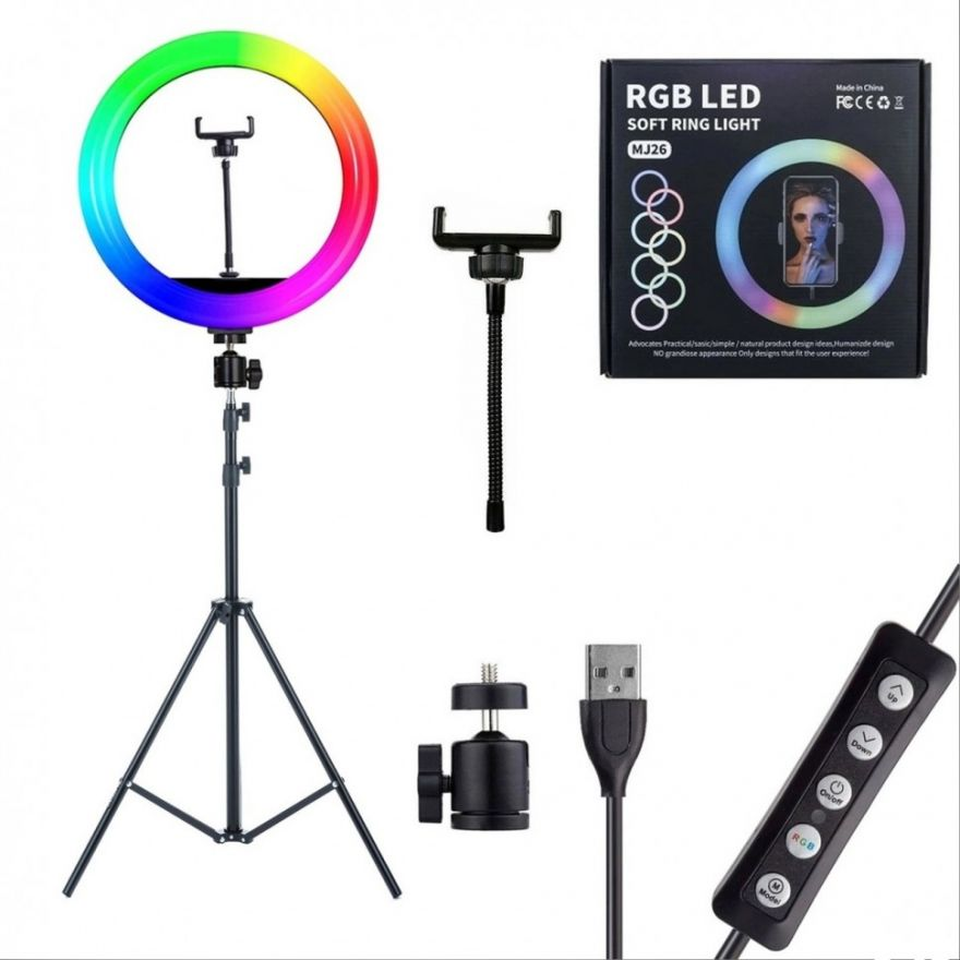 Кольцевая лампа RGB MJ26 цветная светодиодная 26 см (6061200)