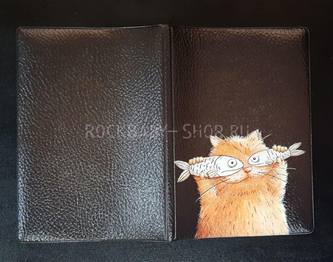 Обложка на паспорт Котейка с рыбками