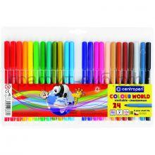 Фломастеры 24цв.Centropen Colour World трехгранные смываемые 7 7550 2484/2401