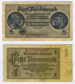Германия - 3-й рейх, набор 5 рейхсмарок 1939-1945 + 1 рейхсмарка 1937 год
