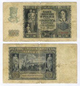 ПОЛЬША - 20 злотых 1940 год