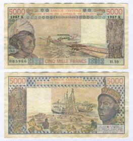 Французская Западная Африка, Сенегал  - 5000 франков 1987 год