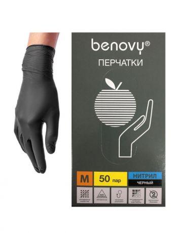 Перчатки нитриловые Benovy, черные, Малайзия, 50 пар