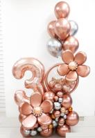 Композиция из шаров хром Розовое золото