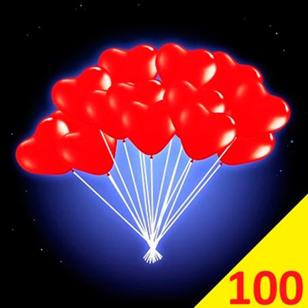 100 светящихся шариков сердце