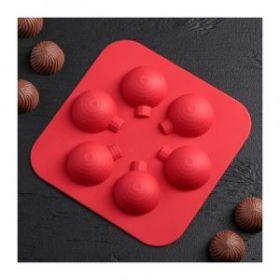 Форма силиконовая «Воздушный шар», 15×15×2 см, 6 ячеек