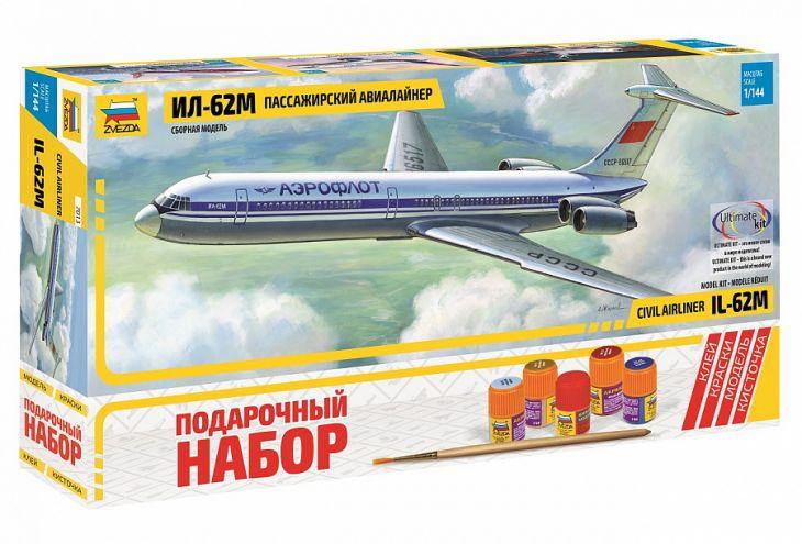 Сборная модель Советский пассажирский авиалайнер Ил-62М, 7013ПН, 1/144