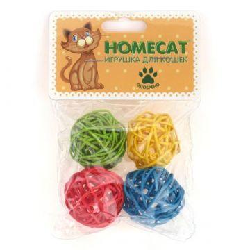 HomeCat Игрушка д/кошек мячи из ротанга с колокольчиком  4шт