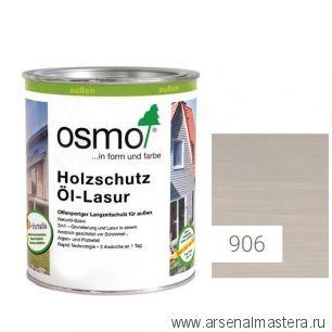 Защитное масло - лазурь для древесины для наружных работ OSMO Holzschutz Ol-Lasur 906 Серый жемчуг 0,75 л