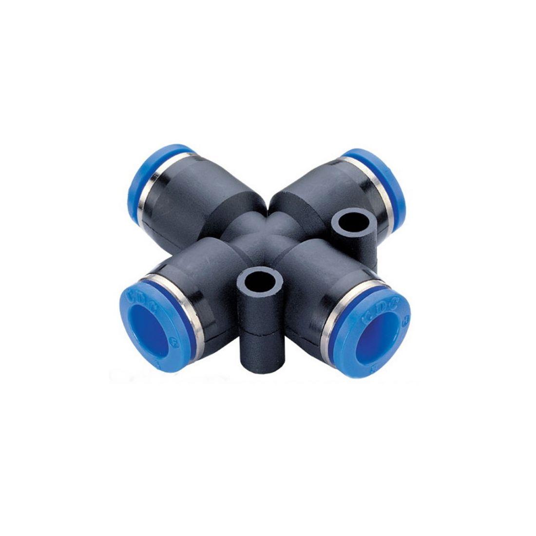 Крестовой быстросъем для пневмошлангов, под шланг 10х6 мм