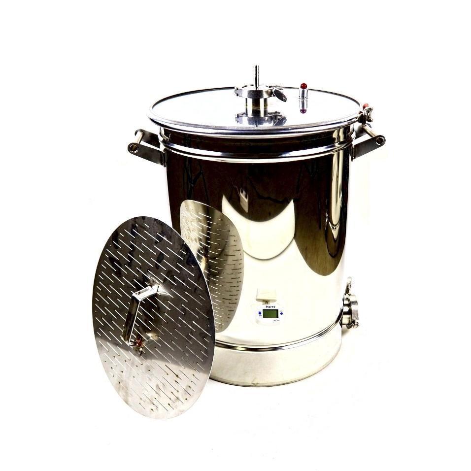 Сусловарочный котел Самогонофф, 35 литров с фальшдном и плоской крышкой