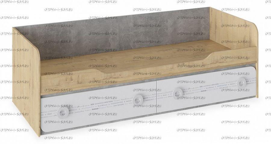 Кровать с 2 ящиками Мегаполис ТД-315.12.01 Бунратти/ Белый с рисунком