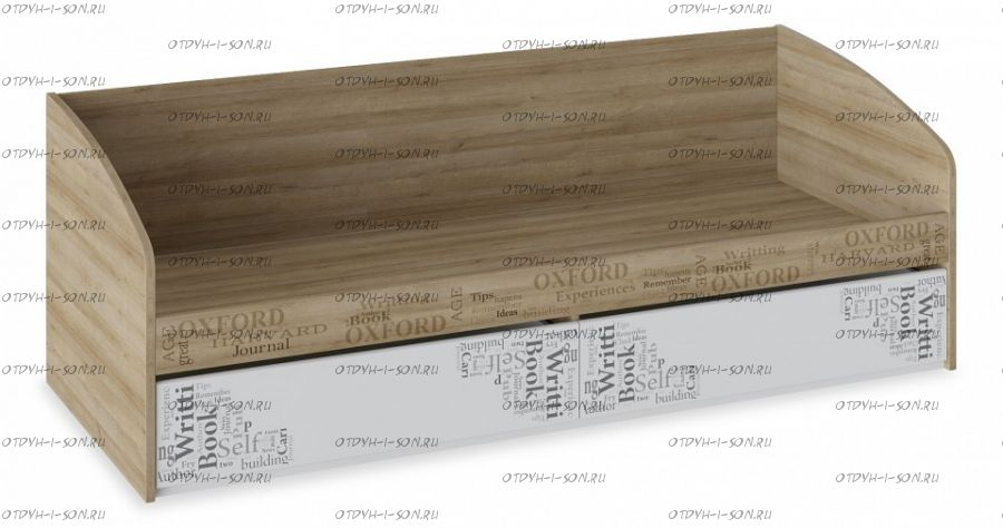 Кровать с 2 ящиками Оксфорд ТД-139.12.01 Ривьера/ Белый с рисунком