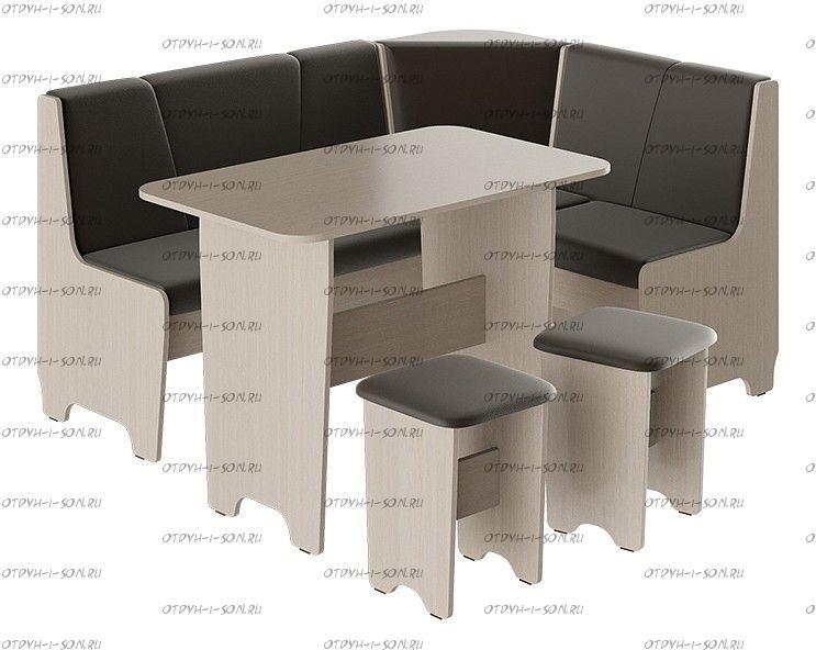 Кухонный уголок Техас Исп.1 Дуб Белфорт/Экокожа коричневая