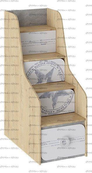 Лестница-комод Мегаполис ТД-315.11.12 Бунратти/ Белый с рисунком
