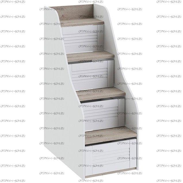 Лестница-комод Ривьера ТД-241.11.12 для кровати 2-х ярусной Дуб Бонифацио/ Белый