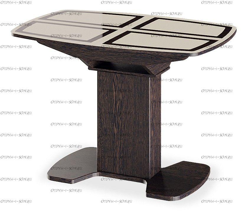 Стол обеденный Монако на деревянных ножках (1100) Венге, стекло бежевое с рисунком