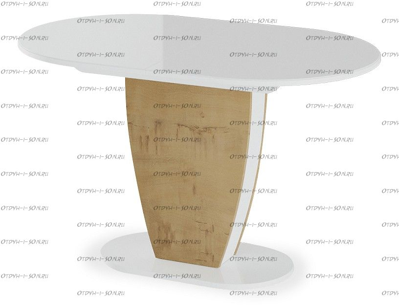 Стол обеденный Монреаль Тип 1 Белый глянец/бунратти