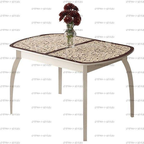 Стол обеденный Сидней СМ-219.01.15 на деревянных ножках Т15 Дуб Белфорт, стекло с рисунком