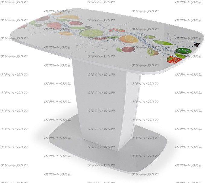 Стол раздвижной Аризона Тип 2 (1100х770х750) Белый глянец с рисунком (Фрукты)
