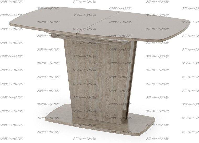 Стол раздвижной Честер Тип 2 Дуб сонома трюфель/Стекло коричневое глянец