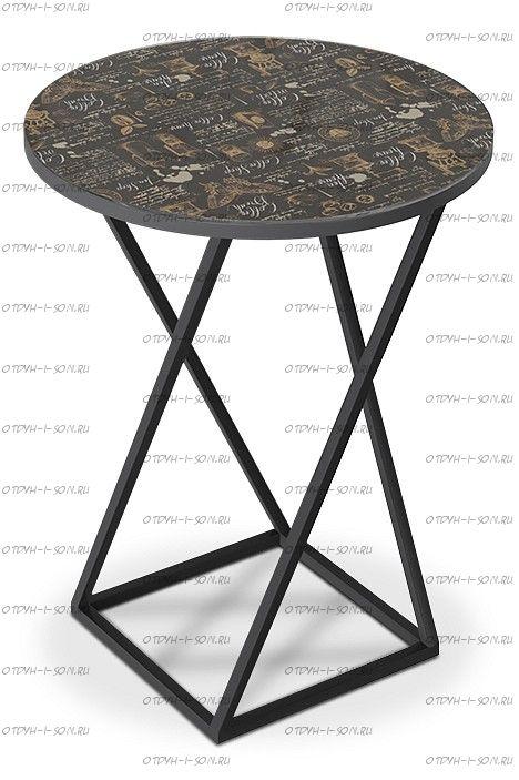 Стол со стеклянной поверхностью ДП 1-03-05 (журнальный) Черный/Стекло с рисунком Coffe