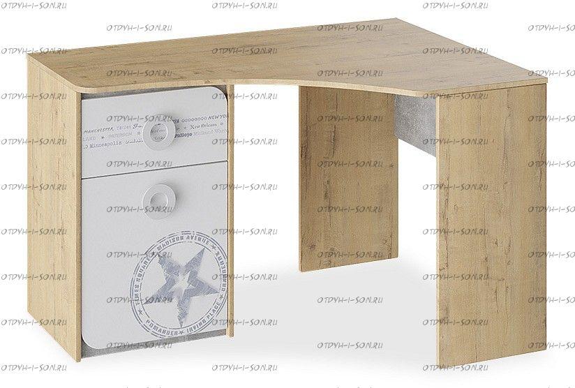 Стол угловой Мегаполис ТД-315.15.03 Бунратти/ Белый с рисунком