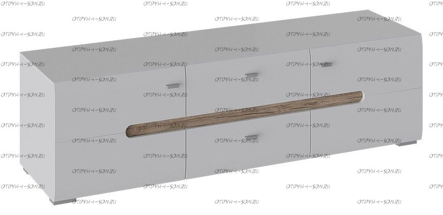 Тумба для ТВ Квадро ТД 281.03.11 Белый глянец, Дуб Делано