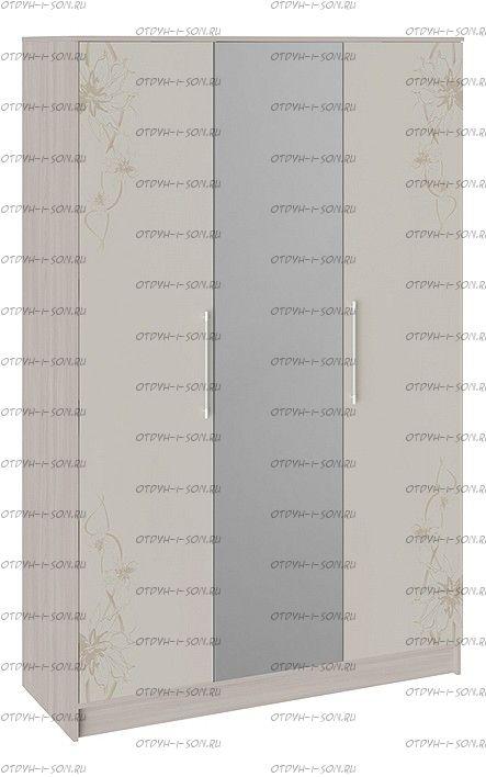 Шкаф комбинированный Мишель Цвет: Ясень шимо/Бежевый фон глянец с рисунком