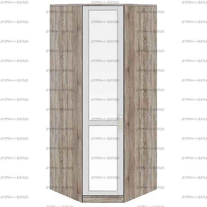 Шкаф угловой с 1 зеркальной дверью Прованс СМ-223.07.007L (580) Дуб Сонома трюфель/Крем