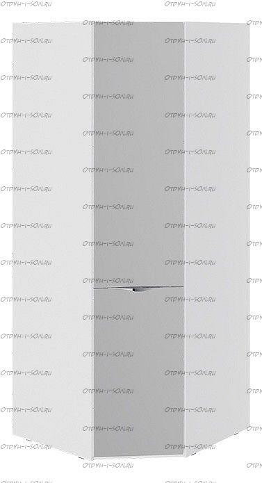 Шкаф угловой с зеркальной дверью Глосс СМ-319.07.312 Белый глянец