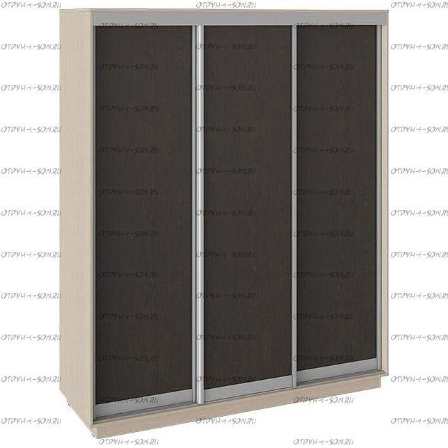 Шкаф-купе 3-х дверный Румер СШК 1.180.60-11.11.11 (1800x600x2200) Дуб молочный, Венге/венге/венге