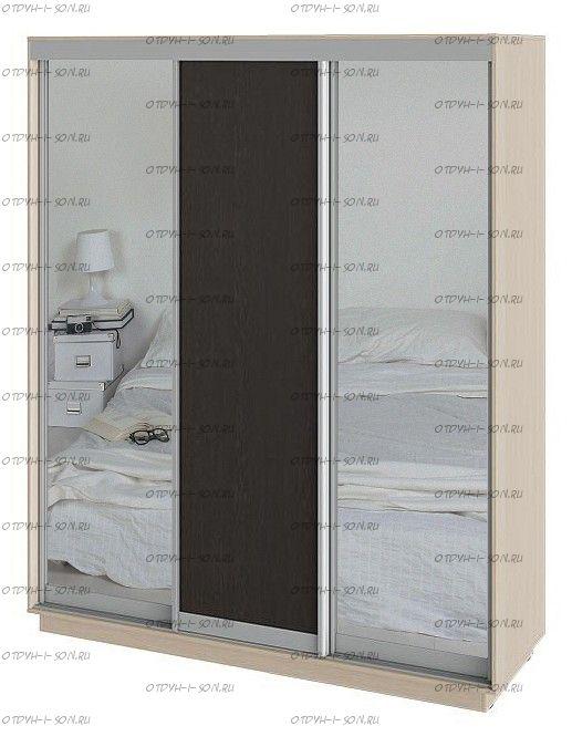 Шкаф-купе 3-х дверный Румер СШК 1.180.60-13.11.13 Дуб молочный, Венге/Зеркало/Венге