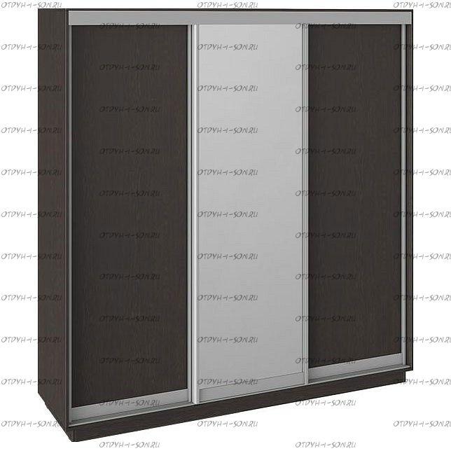 Шкаф-купе 3-х дверный Румер СШК 1.210.70-11.13.11 (2100x600x2200) Венге, Венге/зеркало/венге