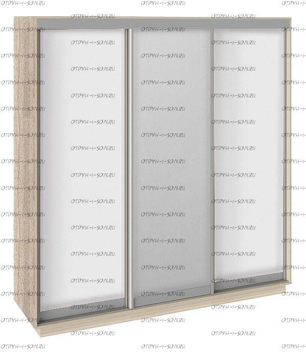 Шкаф-купе 3-х дверный Румер СШК 1.210.70-11.13.11 (2100x600x2200) Дуб Сонома, Белый снег/Зеркало/ Белый снег