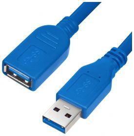 Удлинитель USB 3.0 для 4G 5G модемов, внешних дисков, и других энергоемких USB устройств GCR 1м, синий