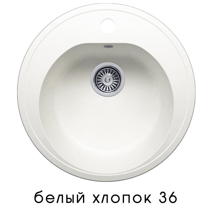 Кухонная мойка POLYGRAN F-08 (F-08 №36 (Белый Хлопок))