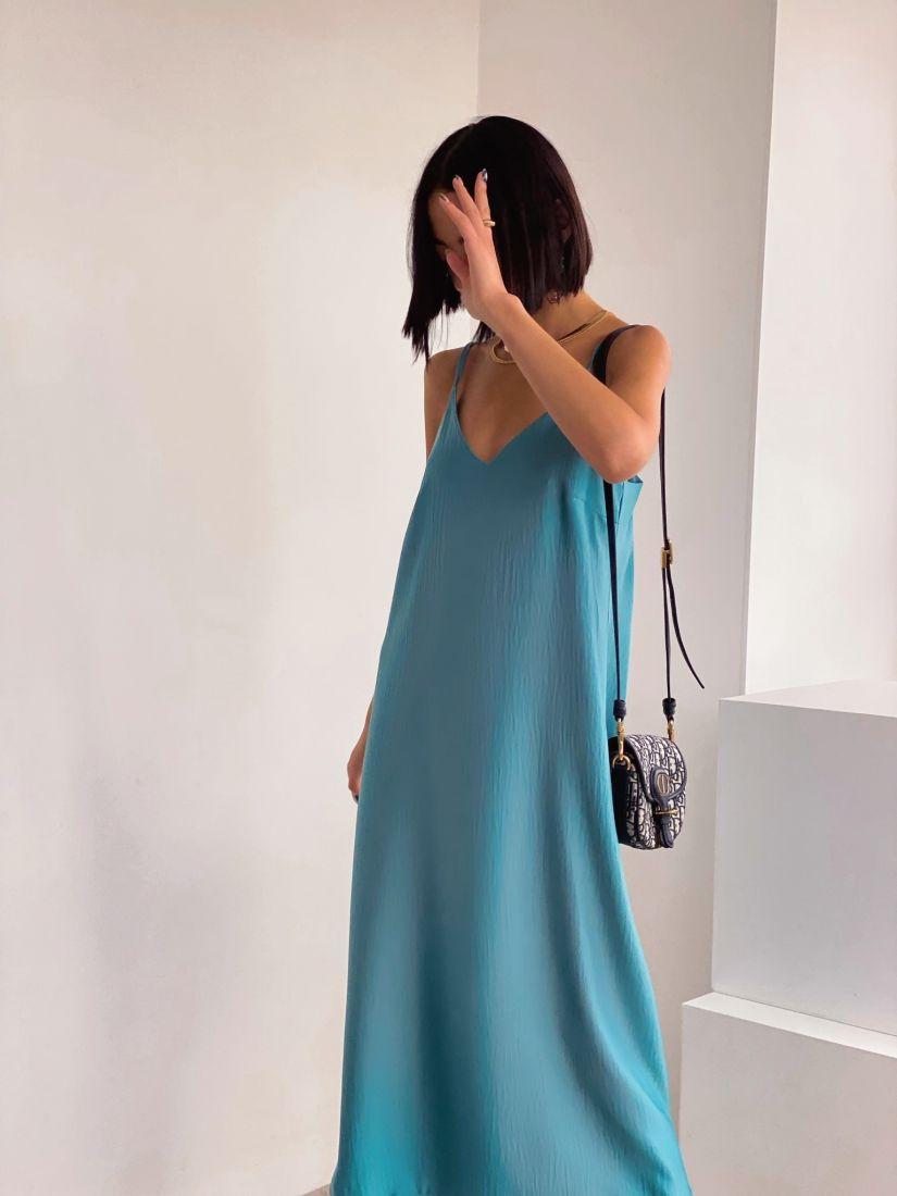 4402 Платье-комбинация с краш-эффектом в цвете морской волны