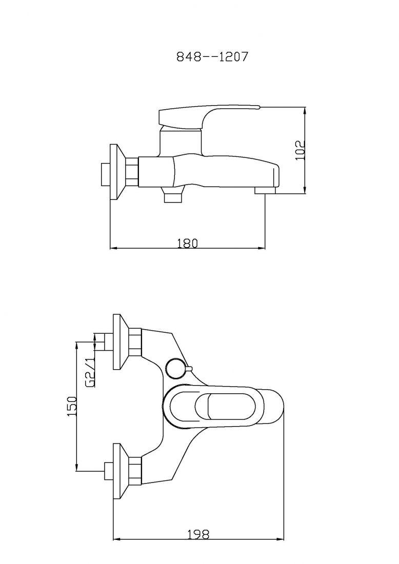 Смеситель для ванны с душем TSARSBERG TSB-848-1207 тип См-ВОРНШлА