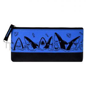 Пенал-косметичка Феникс+ искусств.кожа Акулы плоский синий/черный 20х9,5х2 см 53990