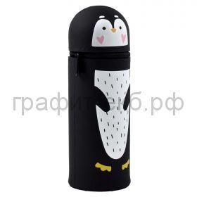 Пенал-косметичка Феникс+ силикон тубус вертикальный Пингвин 6х18(+3.5)х6 см 54072