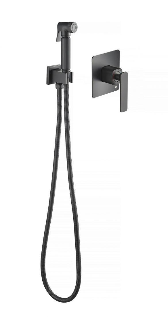 Смеситель встроенный с гигиеническим душем Timo Torne черный (4389/03SM)