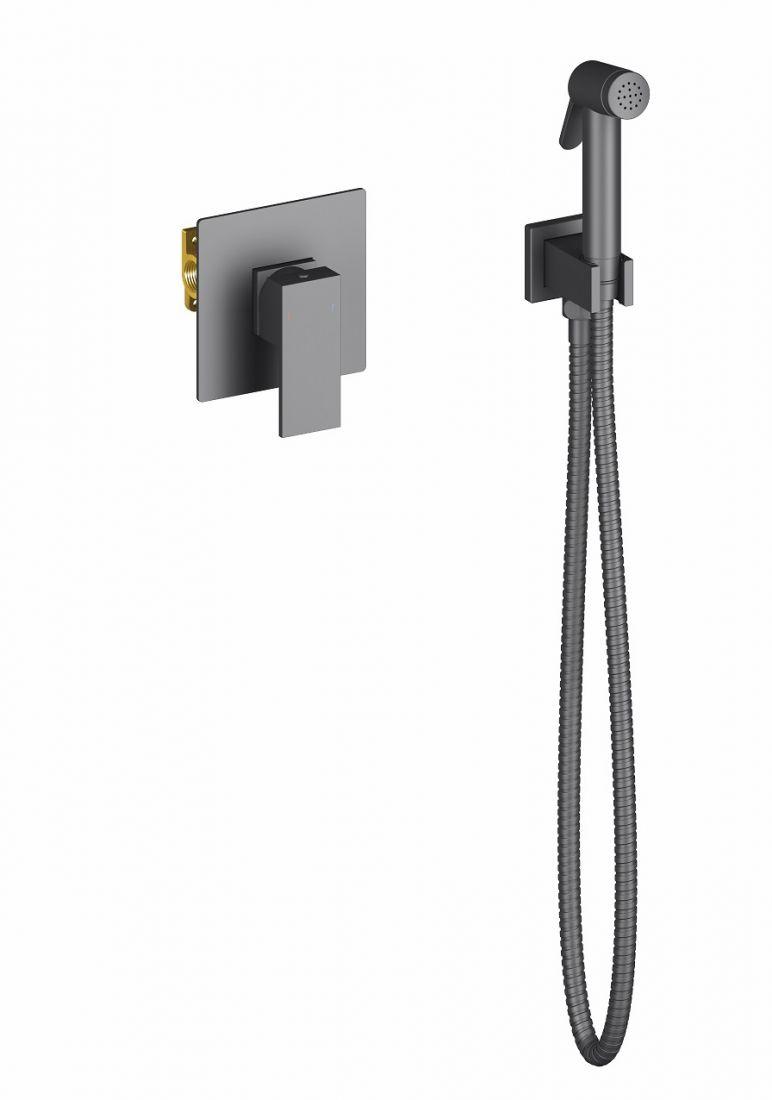 Смеситель встроенный с гигиеническим душем Timo Selene черный (2089/03SM)