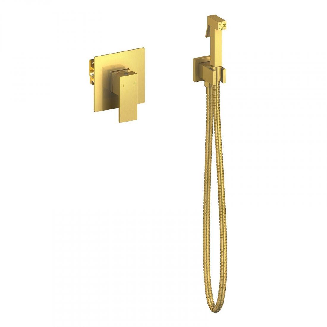 Смеситель встроенный с гигиеническим душем Timo Selene золото матовое (2089/17SM)