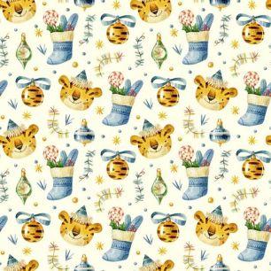 Хлопок Перкаль Новогодние тигрята 50х37