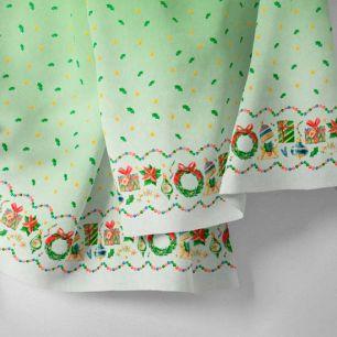 Хлопок Перкаль - Бордюр подарки на зеленом 25х75 см.
