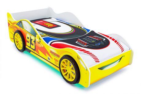 Кровать-машина «Тачка желтая» с подъемным механизмом