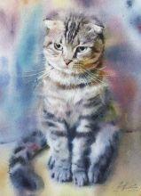 Почтовая открытка Акварельные котики 8