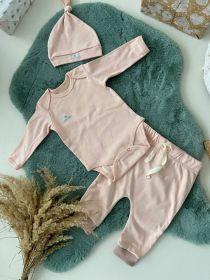 Комплект нательный (боди+штанишки+шапочка), светло-розовый